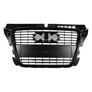 AUDI A3 GRILLE ASSEMBLY PTD BLACK (WO/LICENSE HOLE) OEM#8P0853651HVMZ 2009-2013 PL#AU1200119