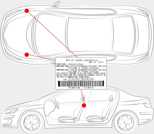 Subaru Paint Code Locator