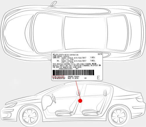 Toyota Paint Code Locator